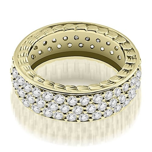 1.17 cttw. 14K Yellow Gold Three Row Vintage Style Round Diamond Eternity Ring