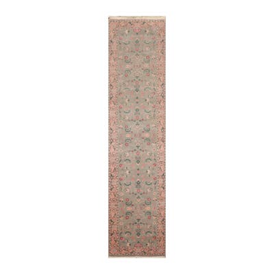 Hand Knotted Kashan Wool Traditional Oriental Area Rug (Runner) - 2' 6'' x 9' 10''