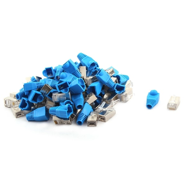 Plastic RJ45 8P8C Shield Modular Network Plug Connector 100pcs w Boot Guard
