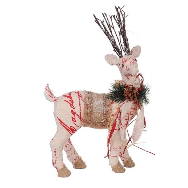 "17"" Country Cabin Snow Flocked Right Facing Reindeer with Red Sciprt Christmas Figure - brown"
