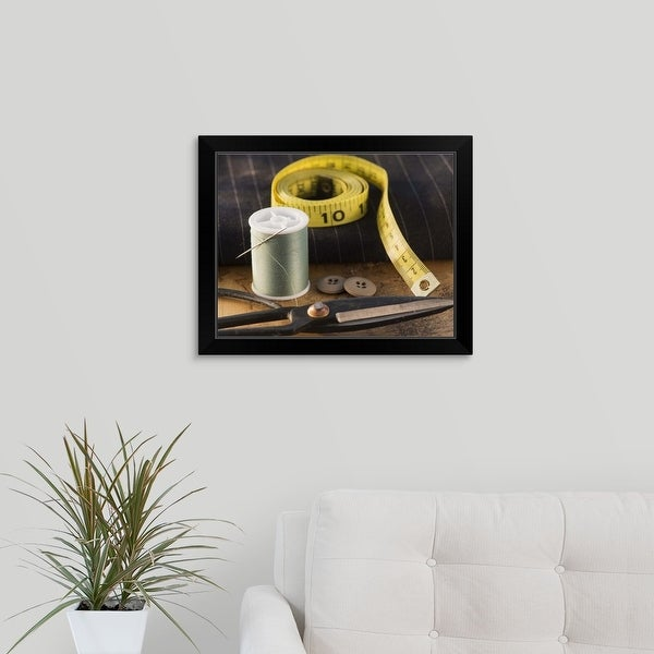 """Sewing items"" Black Framed Print"