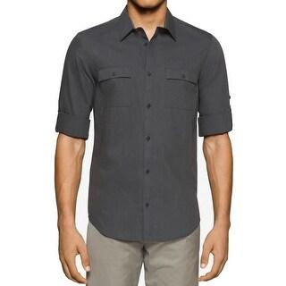 Calvin Klein NEW Gray Mens Medium M Striped Pocket Button Down Shirt