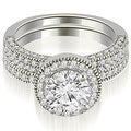 1.60 cttw. 14K White Gold Halo Round Cut Diamond Bridal Sett,HI,SI1-2 - Thumbnail 0
