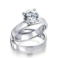 Bling Jewelry Round 1.5ct CZ Sterling Silver Engagement Wedding Ring Set