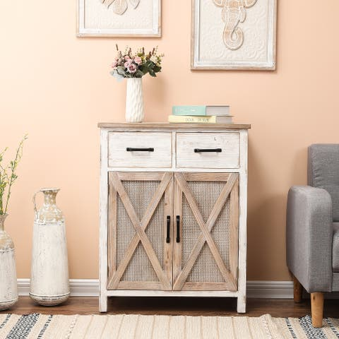 Rustic Wood Barn Door Storage Cabinet