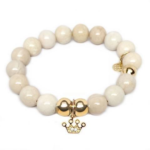 Julieta Jewelry Crown Charm Ivory Jade Bracelet