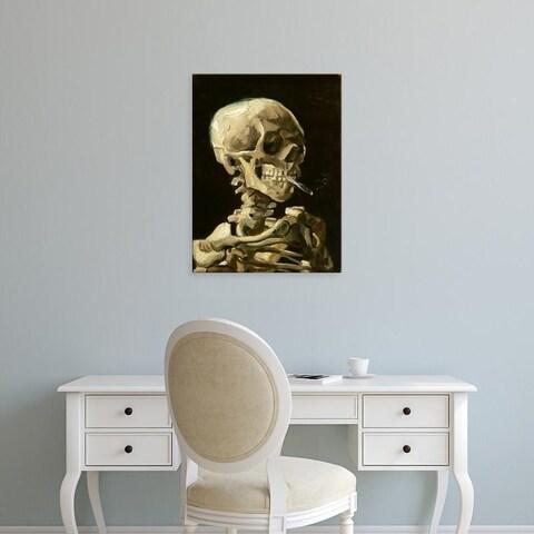 Easy Art Prints Vincent Van Gogh's 'Skull with Burning Cigarette' Premium Canvas Art