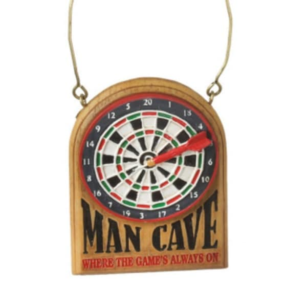 "3.25"" Dart Board ""Man Cave Where the Game's Always On"" Christmas Ornament - multi"