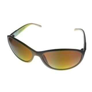 Ellen Tracy Womens Sunglass 507 4 White Modified Rectangle, Brown Gradient Lens