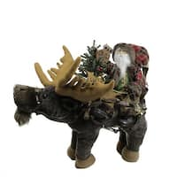 "30"" Country Rustic Santa Claus sitting on Moose Decorative Christmas Figure - RED"