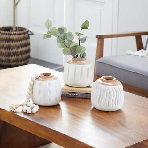 White Teak wood Coastal Vase (Set of 3) - 6 x 6 x 6