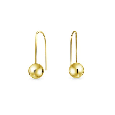 Tiny Minimalist Drop Ball Threader Earrings For Women For Teen For Girlfriend Real 14K Yellow Gold