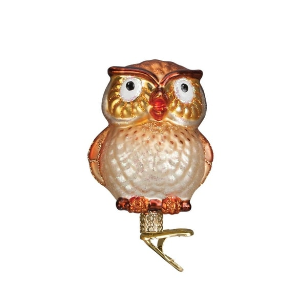 """3.5"""" Old World Christmas Hootie Cutie Clip-On Glass Ornament #18106 - GOLD"""