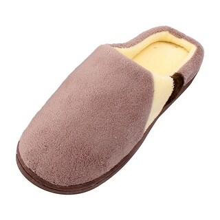 Family Coral Fleece Man Warm Indoor Winter Slippers Shoes Light Brown Pair US 13