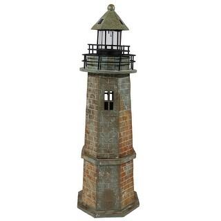 Sunnydaze Brick Solar LED Lighthouse, 35 Inch Tall
