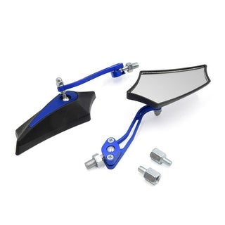 Blue 8mm 10mm Thread Dia Adjustable Rearview Mirror For Motorcycle Motorbike