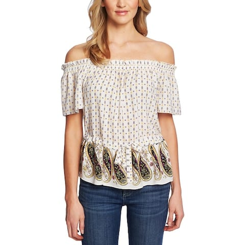 CeCe Womens Blouse Off-The-Shoulder Printed