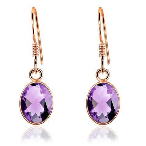 Amethyst Sterling Silver Oval Dangle Earrings By Orchid Jewelry