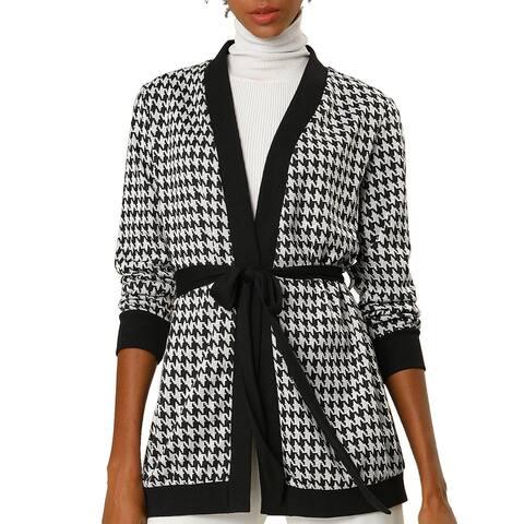Women's Houndstooth Tie Belt Long Sleeve Open Front Cardigan - Black Grey