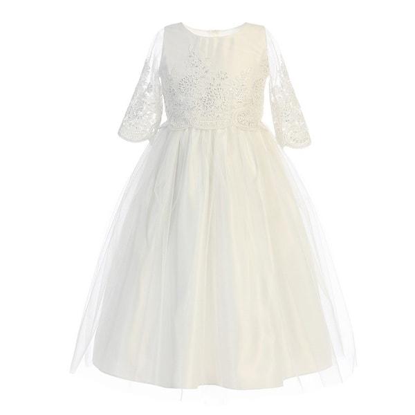 347a6b7eca Little Girls Off-White Sequin Cord Detail Flower Girl Dress