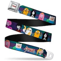 Adventure Time Logo White Full Color Adventure Time Logo W Characters5 Blue Seatbelt Belt Standard