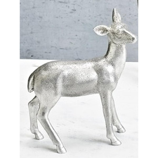 "7"" Vintage Silver Doe Deer Decorative Christmas Table Top Figure"