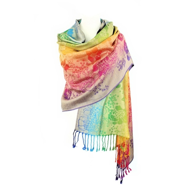 """Pashmina Wrap Shawl Scarf Double Side Rainbow Exotic Tropical Colorful - 28""""x70"""" with fringes. Opens flyout."""