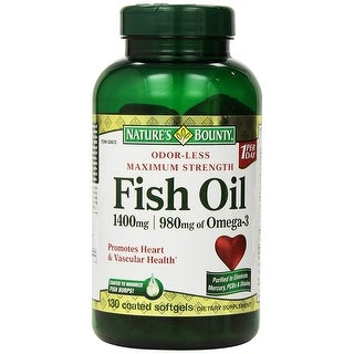 Nature's Bounty Fish Oil 1400 mg with 980 mg of Omega-3, 130 Coated Softgels Dietary Supplement - green - 130 caps