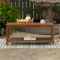 Deals on Havenside Home Surfside Acacia Wood 50-in Patio Coffee Table