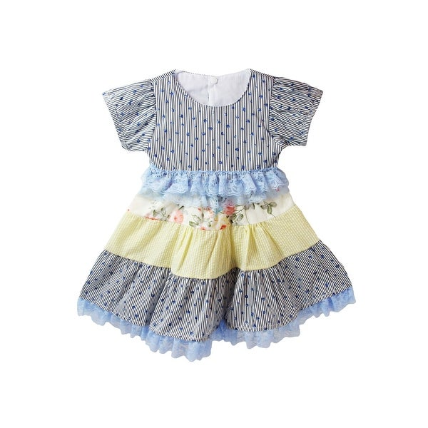 Baby Girls Blue White Stripe Floral Print Lace Accent Cap Sleeve Dress