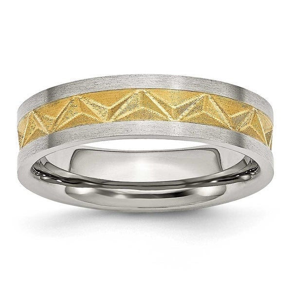 Chisel Stainless Steel Satin and Gold Plated 6mm Band