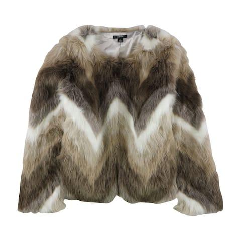 Alfani Womens Faux Fur Jacket, Brown, Large