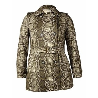 MICHAEL Michael Kors Women's Belted Snake Print Short Trench Coat (L, Duffle) - L