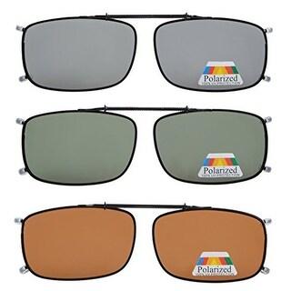"Eyekepper Grey/Brown/G15 Lens 3-pack Clip-on Polarized Sunglasses 2 1/16""x4 1/2"""