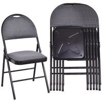 Costway Set of 6 Folding Chairs Fabric Upholstered Padded Seat Metal Frame Home Office - as pic
