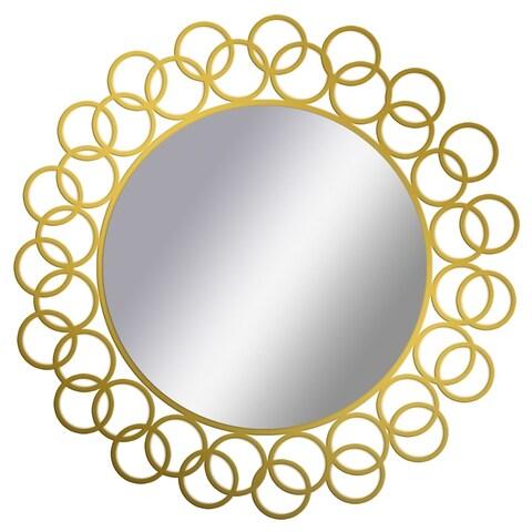PTM Images 5-1663 15-1/2 Inch Diameter Round Interlocking Ring Framed Mirror - Gold - N/A
