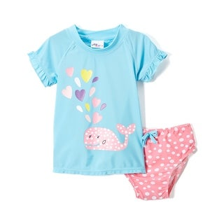 Sweet & Soft Baby Girls Cute Whale with Hearts Rashguard 2Pc Swimsuit Swim Set