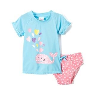 Sweet & Soft Toddler Girls Cute Whale with Hearts Rashguard 2Pc Bikini Swim Set