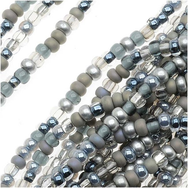 Czech Seed Beads Mix Lot 11/0 Silver Wares Silver Mix- 1/2 Hank