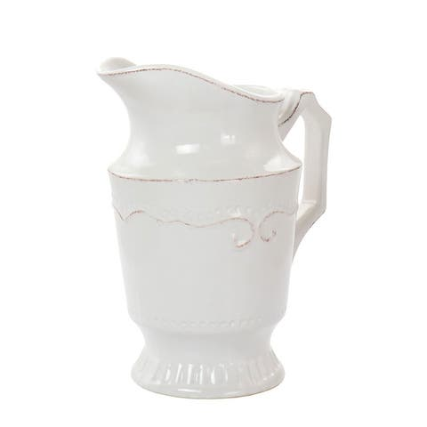Home Accents 56 Ounce Capri Stoneware Pitcher in White