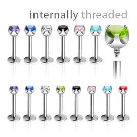 Surgical Steel One Piece Internally Threaded Prong-Set CZ Monroe (2mm Ball) (Sold Ind.)