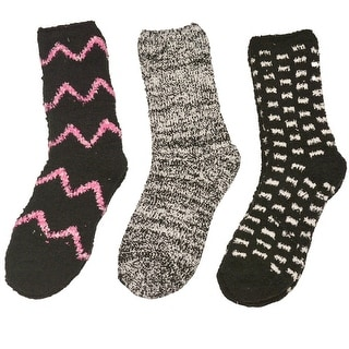 Gold Medal Girls Black White Chevron Geometric Pattern 3 Pc Pack Socks 9-11