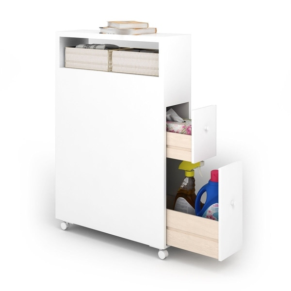 Shop Costway Wood Floor Bathroom Storage Rolling Cabinet