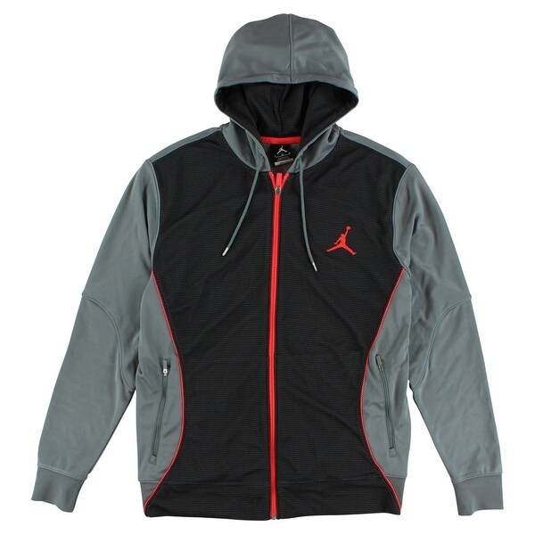 b66d7976ca98 Shop Nike Mens Flight Hooded Dri Fit Sweatshirt Cool Grey - cool grey black infrared  - L - Free Shipping Today - Overstock - 22545423