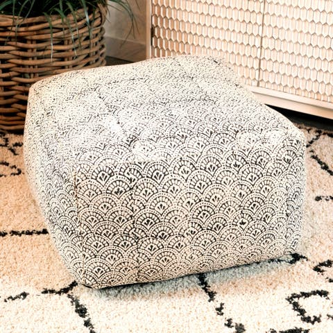 Black and White Bohemian Square Upholstered Accent Stool Ottoman