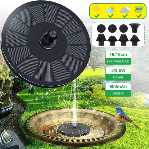 18cm Solar Fountain Solar Water Fountain 3/3.5W 900mAh Battery Fountain Pump for Birdbath Pond Garden