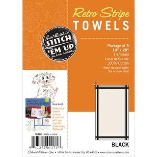 "Stitch 'Em Up Retro Stripe Towels 18""X28"" 3/Pkg-Black Stripe - White"