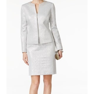 Tahari By ASL NEW Silver Jacquard Women's Size 4 Skirt Suit Set