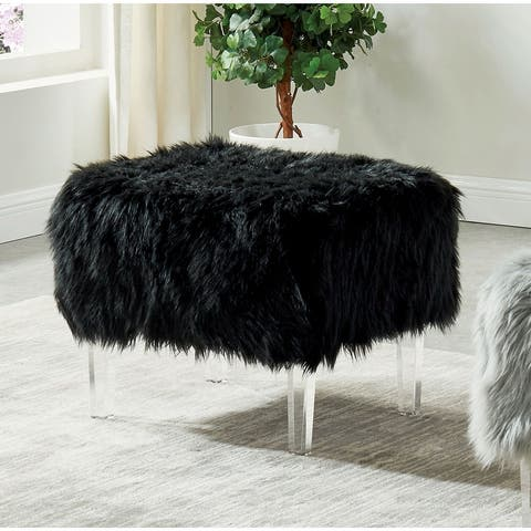 Silver Orchid Andral Contemporary Acrylic Ottoman