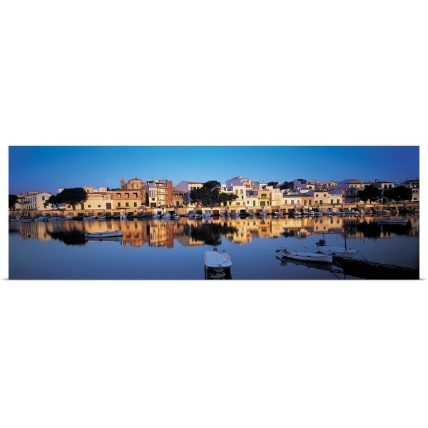 """Buildings at the waterfront, Porto, Majorca, Spain"" Poster Print"
